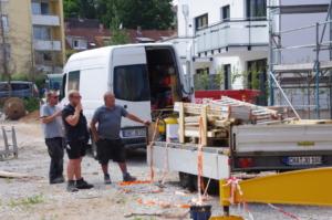 Zimmerleute der Fa. Jobi aus Cham: Johann Piendl und Max Forner
